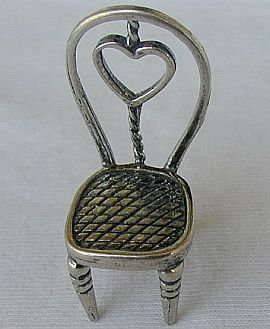 Heart chair silver miniature