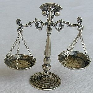 Scales silver miniature