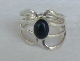silver stips with onyx ring