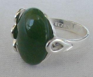 Green silver ring