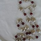 Red and silver coins necklace