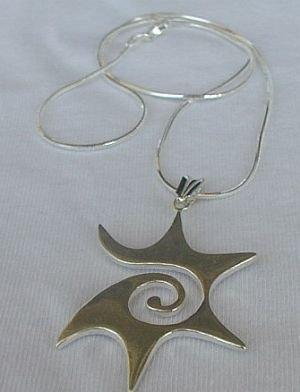 smiling  sun silver pendant