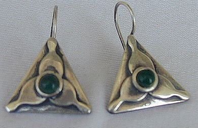 Green triangle earrings