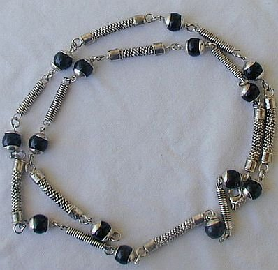 Maskit-onyx and metal necklace