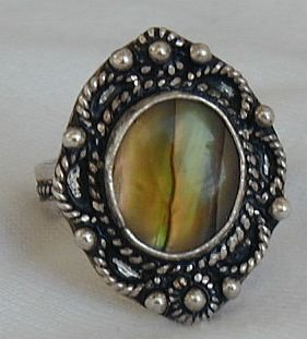 Colored silver ring