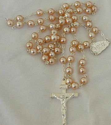Pink pearls Rosary-A