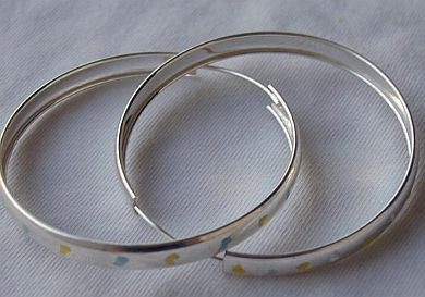 Yellow&light blue hoops
