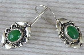 Green siver earrings