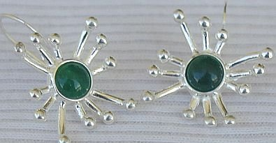 Green prickle earrings