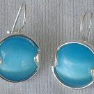 Round light blue earrings