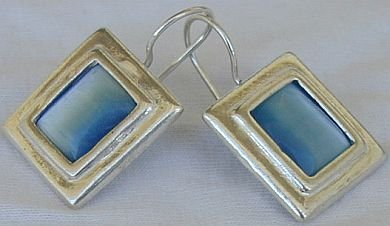 Light blue square earrings-D
