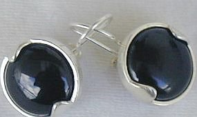 Black with silver earrings