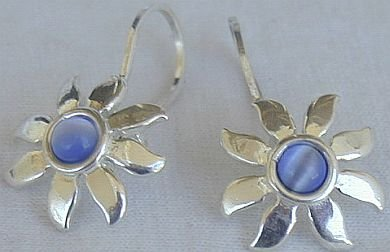 Mini blue sun earrings