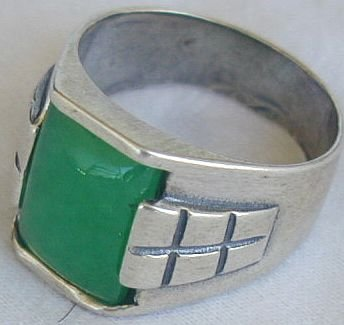 Green agate man ring-B