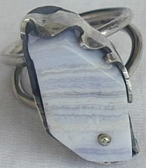 Blue and white marble ring