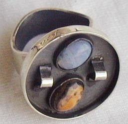 oxidized orange and light blue ring-B