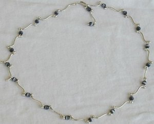 Gray cat eye stones necklace
