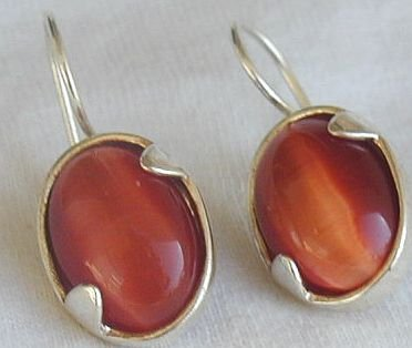Orange cat eye earrings-LH