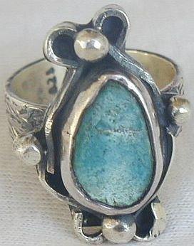 Pressed Eilat stone ring-SR113