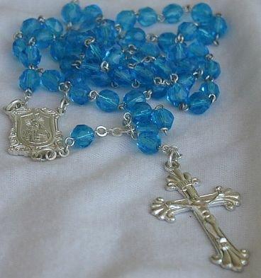 Aqua blue beads Rosary