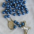 Blue navy  pearl beads Rosary
