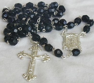 Rosary black glass beads from the Holy-Land