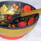 Russian wood bowl with  teaspoon