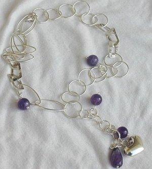 Amethyst&silver necklace