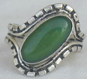 Green Agate silver ring B