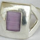 Purple cat eye silver ring