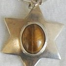 Brown cat eye David Star pendant