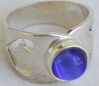 Blue cat eye pitulim ring