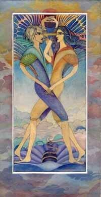 Artistic gemini zodiac sign poster