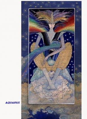 Artistic Aquarius zodiac sign poster