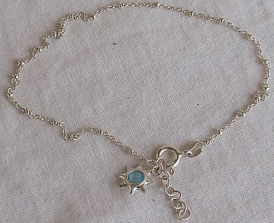Light blue star silver anklet-A