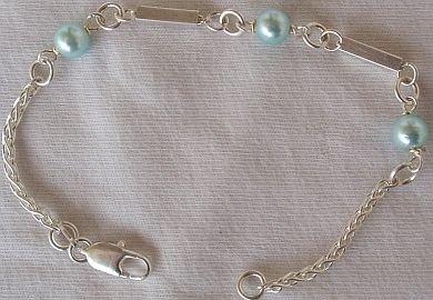 Light blue silver bracelet-A
