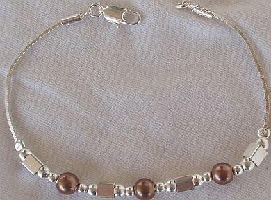 Brown silver bracelet-A