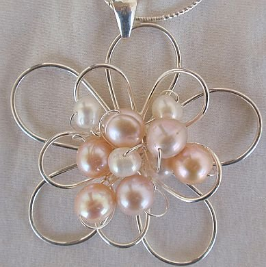 pink and white pearls pendant -B