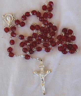Red austrian beads Rosary