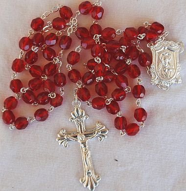 Red-l-glass beads rosary