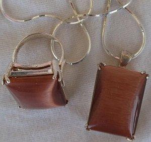 A brown cat eye set-ring&pendant