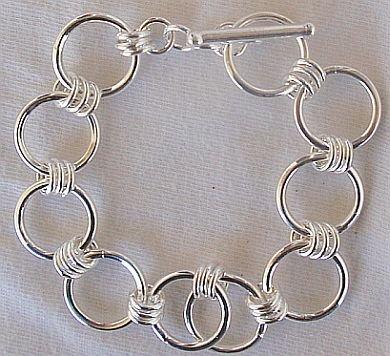Open  round silver bracelet