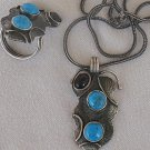 Onyx and turquoise silver set