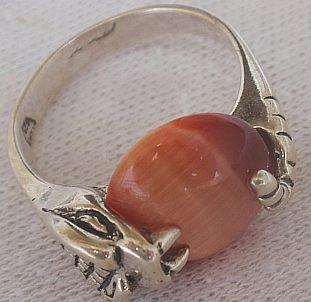 Orange cat eye snake ring