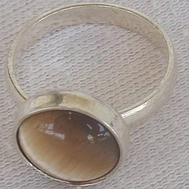 Brown tiger eye silver ring