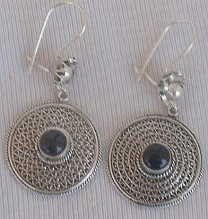 Oriental silver onyx earrings
