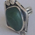 Green glass hand made ring-HMG-10