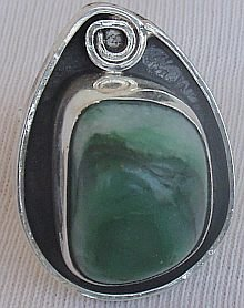 Green glass hand made ring GHM 10