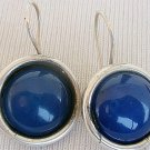 Blue agate round earrings