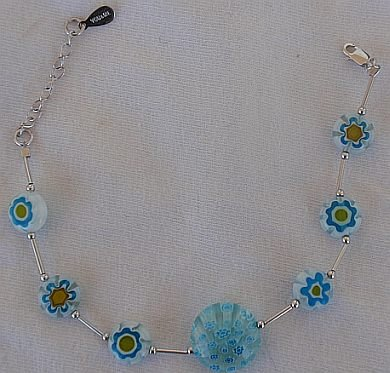 Light blue mornao flowers bracelet